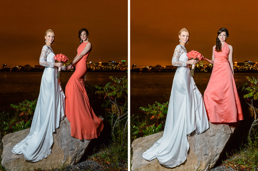 Gorgeous bride, evening shoot from the Jean-Drapeau island, with the Montreal Down-Town as a background. Montreal, Quebec